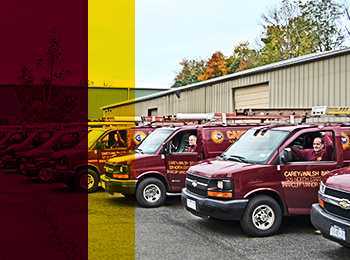 Carey & Walsh service trucks and technicians